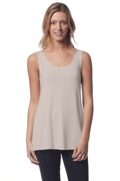Style No: D-12   Classic modal sleeveless tank with slight flare. This loose-fitting tank is perfect for layering under your favorite cardigan or sweater and is long enough to wear comfortably by itself. AtoZ, A to Z, basic, tee, top, travel, vacation, yoga
