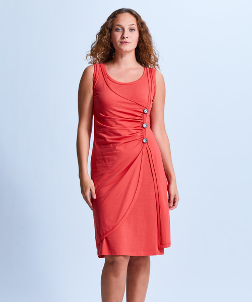 Style No. CDD-184   Your unique dress with an elegant twist. The featured wrap detailing with side button wrap skirt show off your style while still being casual and sophisticated. Our sleeveless dress is made with ultra-soft cotton modal fabric and features a slightly flared fit at the bottom to keep you comfortable throughout the day. Perfect for the office and travel. Machine washable and wrinkle-free for easy cleaning. AtoZ, A to Z, Shirin, Basic