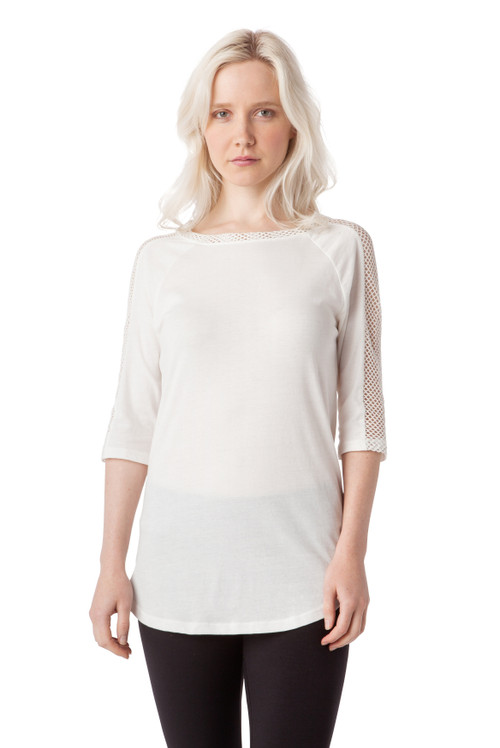 Style No. BN-108   Showcase your casual street style with this cute cotton tee with mesh panels down the side. Designed with comfort in mind, this blouse is made from fine Turkish cotton for increased breathability. The blouse is machine washable for easy cleaning, and it retains its shape after each wash to ensure it always fits. Features ¾ sleeves, a slim fit and a simple boat-neckline. Top, Tee, AtoZ, A to Z, basic
