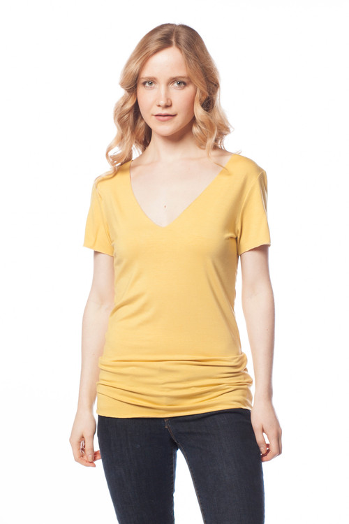Style No: D-18   One of our favorite basic tops, this lightweight breathable V  necktee is made with ultra-soft cotton modal and features a scoop neck and slim fit for a casual yet feminine look. Short sleeves make this perfect for layering in the cooler months or wearing alone in the warmer months. Machine washable for easy cleaning. AtoZ, A to Z, basic, top