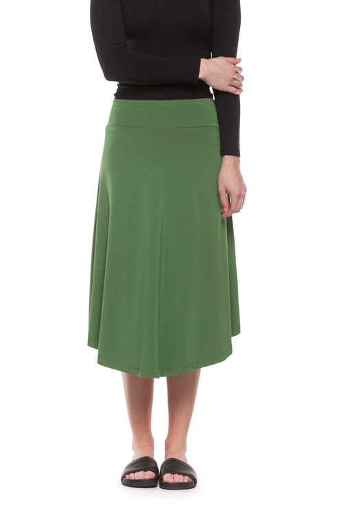 Style DSK-29   Find your own perfect style with this classic modal tulip skirt. Easily tuck in your favorite tops for a more polished look or layer a simple tank and cardigan for a chic laid-back feel. Features an elastic waistband and ultra-soft modal fabric. 95% modal, 5% elastane. Machine washable and wrinkle-free. Hang dry for best results. AtoZ, A to Z, basic