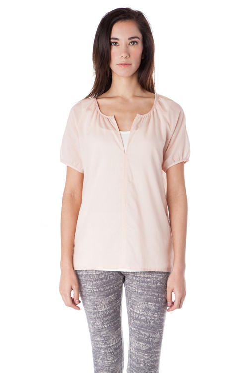 Style No. BN-120   We love this unique short sleeved henley top. It instantly adds fun and femininity to your outfit and is flowy in all the right places. The split v-neckline is interesting enough that you don't need to wear much else other than a great pair of jeans or a pretty skirt to complete this look. Made with lightweight cotton voile fabric that is not only soft but durable. Machine wash with warm or cool water, and hang dry for the best wrinkle-free results. Blouse, basic, AtoZ, A to z