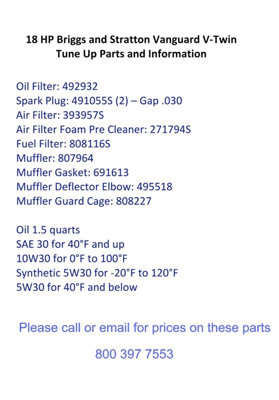 18 HP Briggs and StrattonTune Up Parts and Info. Banner
