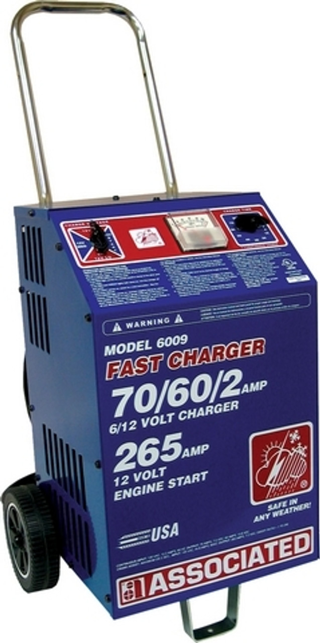 6009 Associated Equipment Battery Charger 6/12V 70/60/2A, 265 Amp Cranking Assist