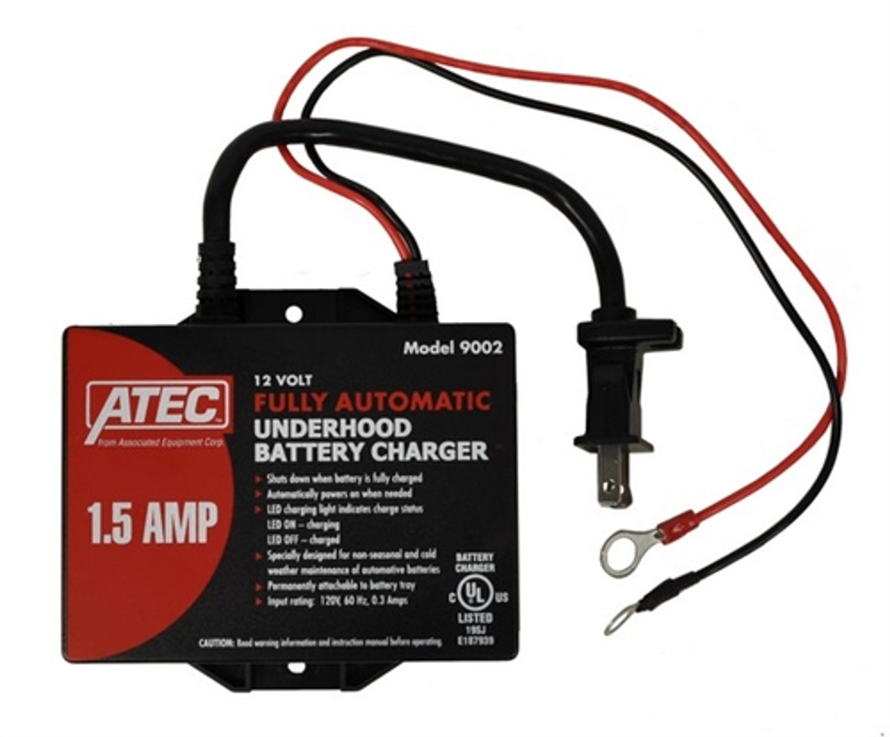 Model 9002 ATEC Fully Automatic 12 Volt 1.5 Amp Underhood-Battery Charger Powerful Performance