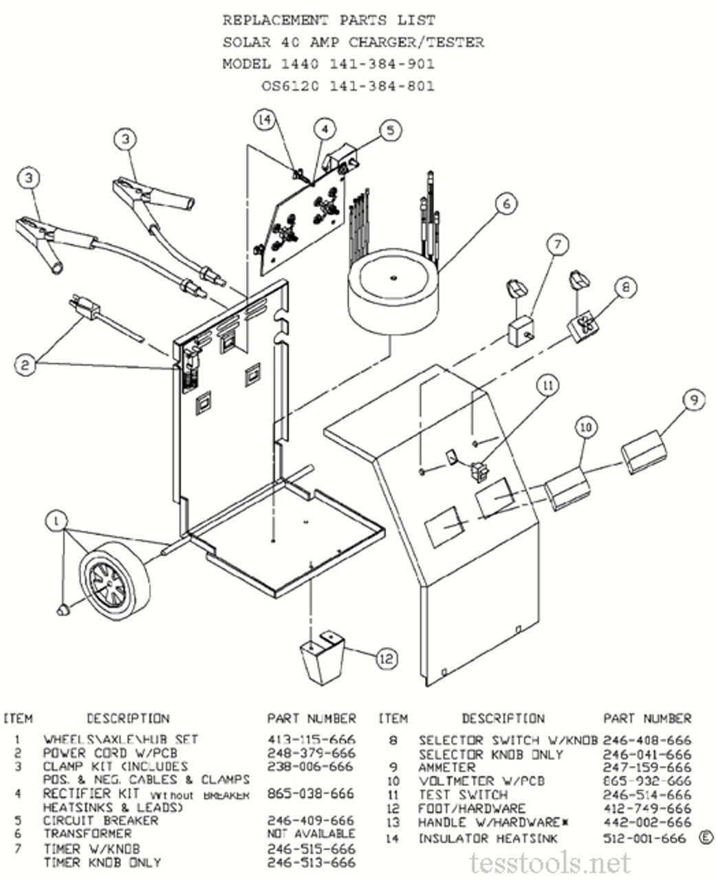 Clore/Solar/Century OS6120 Battery Charger ,Part List,Wiring Diagram, Schematic (141-384-801)Tess Tools