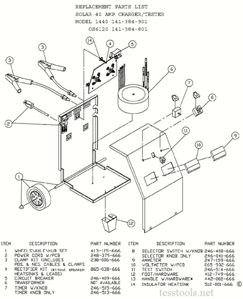 Clore/Solar/Century OS6120 Battery Charger ,Part List,Wiring Diagram, Schematic (141-384-801) | Battery Charger Transformer Wiring Diagram |  | Tess Tools