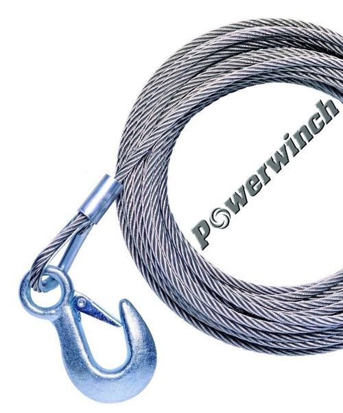 """Powerwinch P1096600AJ Stainless Steel Universal Premium Replacement Cable w/Hook, Swivel Pulley Block, 50' x 7/32"""""""