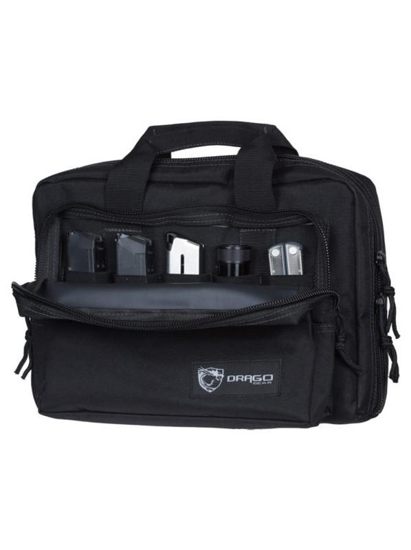 Drago Gear | Double Pistol Case 5 Internal Magazine Holders - Black