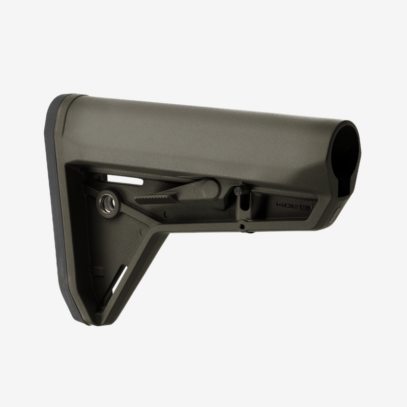 The MOE SL Stock – Mil-Spec Model (MOE Slim Line) is a drop-in replacement buttstock for AR15/M4 carbines using mil-spec sized receiver extension tubes.  Designed for the modern battlefield, the sleek profile, dual-side release latches, rolled toe, and angled rubber butt-pad are optimized for use with body armor or modular gear and provides for efficient shoulder transitions.
