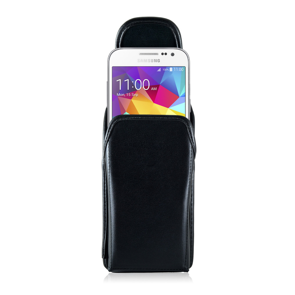 Galaxy Core Prime Vertical Leather Holster, Case Metal Belt Clip