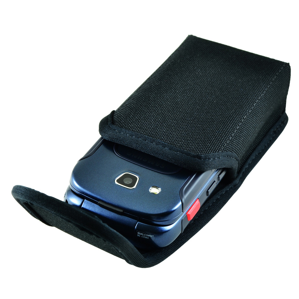 Samsung Convoy 4 Vertical Holster Black Nylon Pouch Case with Heavy Duty Rotating Metal Belt Clip interior fits 4.38 X 2.25 X 1.15 in