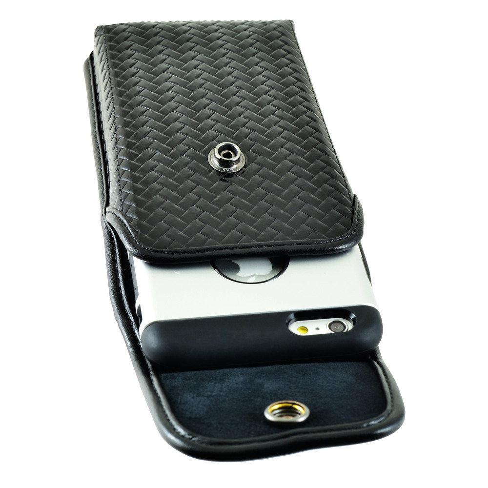 iPhone 6S Plus Samsung S7 Edge Police Pouch Holster Vertical Snap Closure Black Basketweave Leather with Heavy Duty Rotating Belt Loop, fits Slim Cases Made in USA