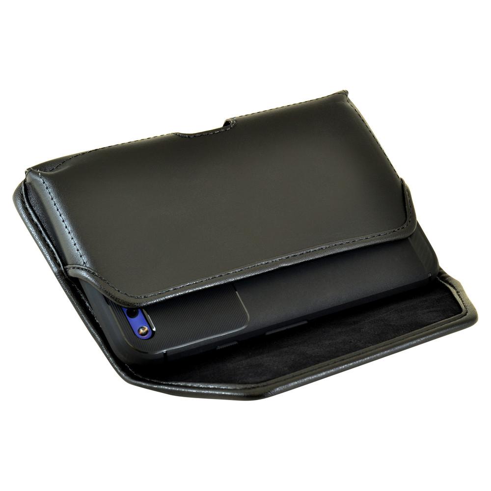 Google Pixel Holster, Google Pixel Belt Case, Black Leather Pouch with Executive Belt Clip, Horizontal