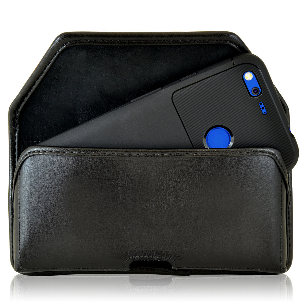 Google Pixel XL Belt Case, Google Pixel XL Holster, Black Leather Pouch with Heavy Duty Rotating Belt Clip, Horizontal