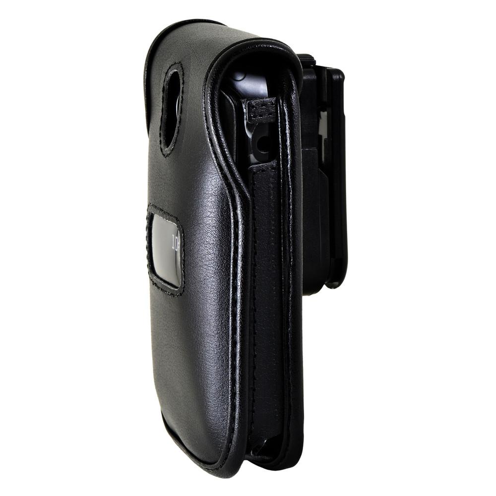 ZTE Cymbal Z320 Flip Phone Black LEATHER Belt Fitted Case Removable Belt Clip