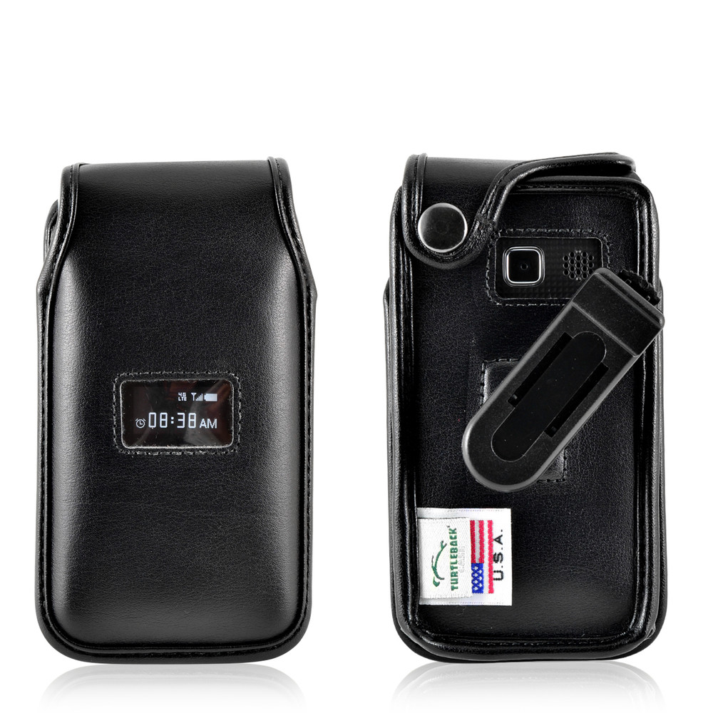 TracFone ZTE Cymbal T Flip Phone Fitted Case Black Leather Plastic Clip