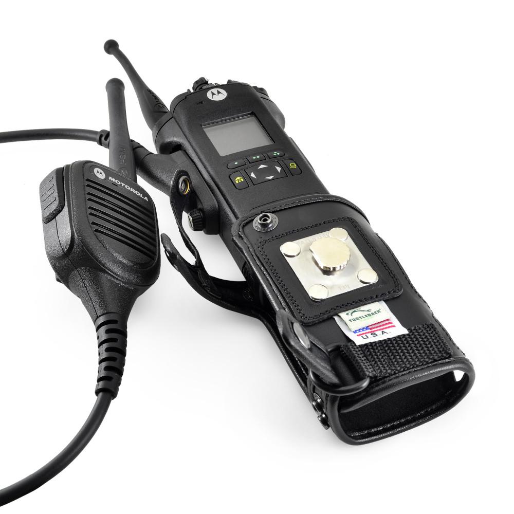 Motorola APX 6000 Holster (Fits 6000Li), Black, Leather Belt Case with Heavy Duty Rotating Belt Clip
