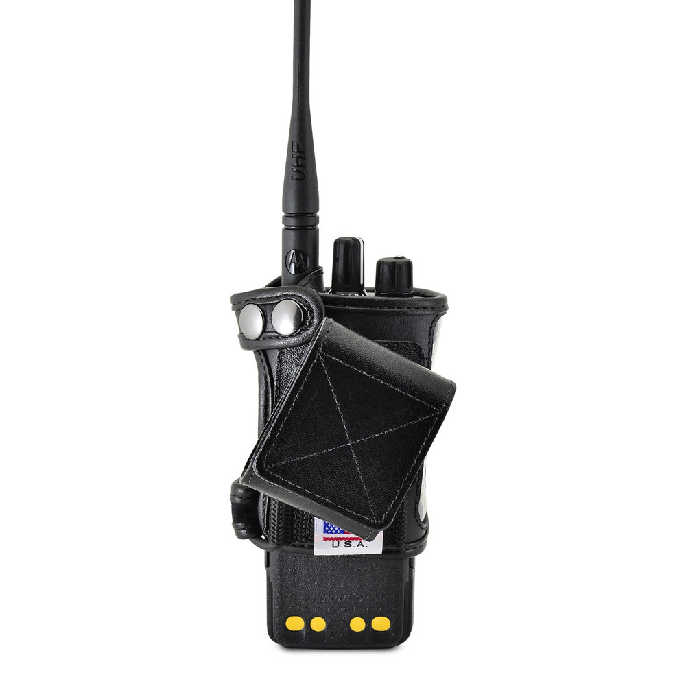 Motorola XPR 7550 Belt Holster Fitted Case, This Holder fits Motorola XPR 7550 Radio Black Leather Duty Belt Holster with Heavy Duty Rotating Belt Clip