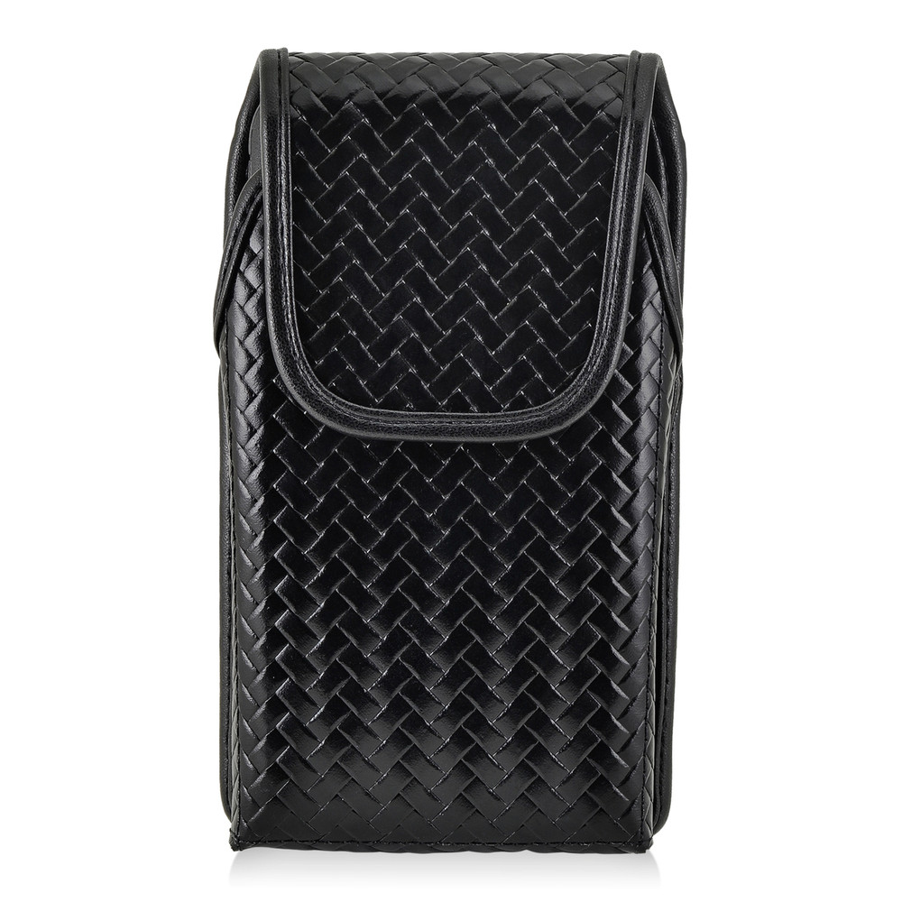 Galaxy S8 Police Leather Basketweave Vertical Holster Belt Clip Fits Bulky Cases