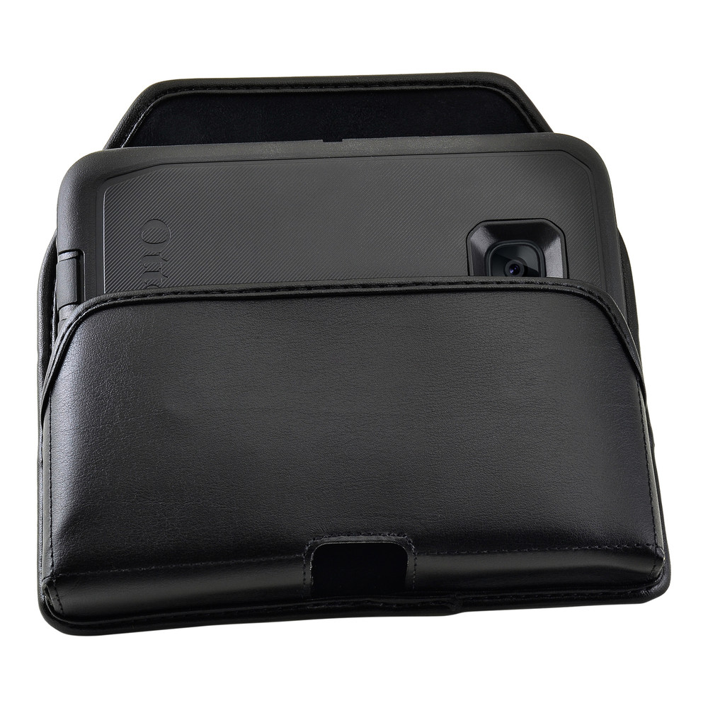 S7 Edge Leather Holster Black Clip Fits Otterbox Defender