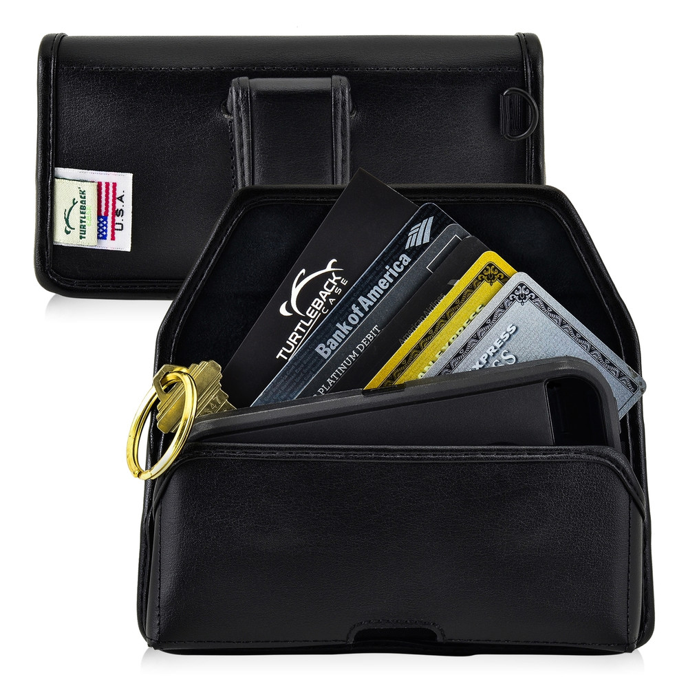 5.30 x 2.62 x 0.60 in  - Smartphone Credit Card Pocket Case Holster Black Clip (iPh 8, 7, 6, 5, SE)