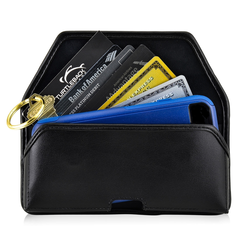 6.10 x 2.90 x 0.60 in - Smartphone Credit Card Pocket Case Holster Black Clip (Galaxy S9, S8, S7, S7 Edge)
