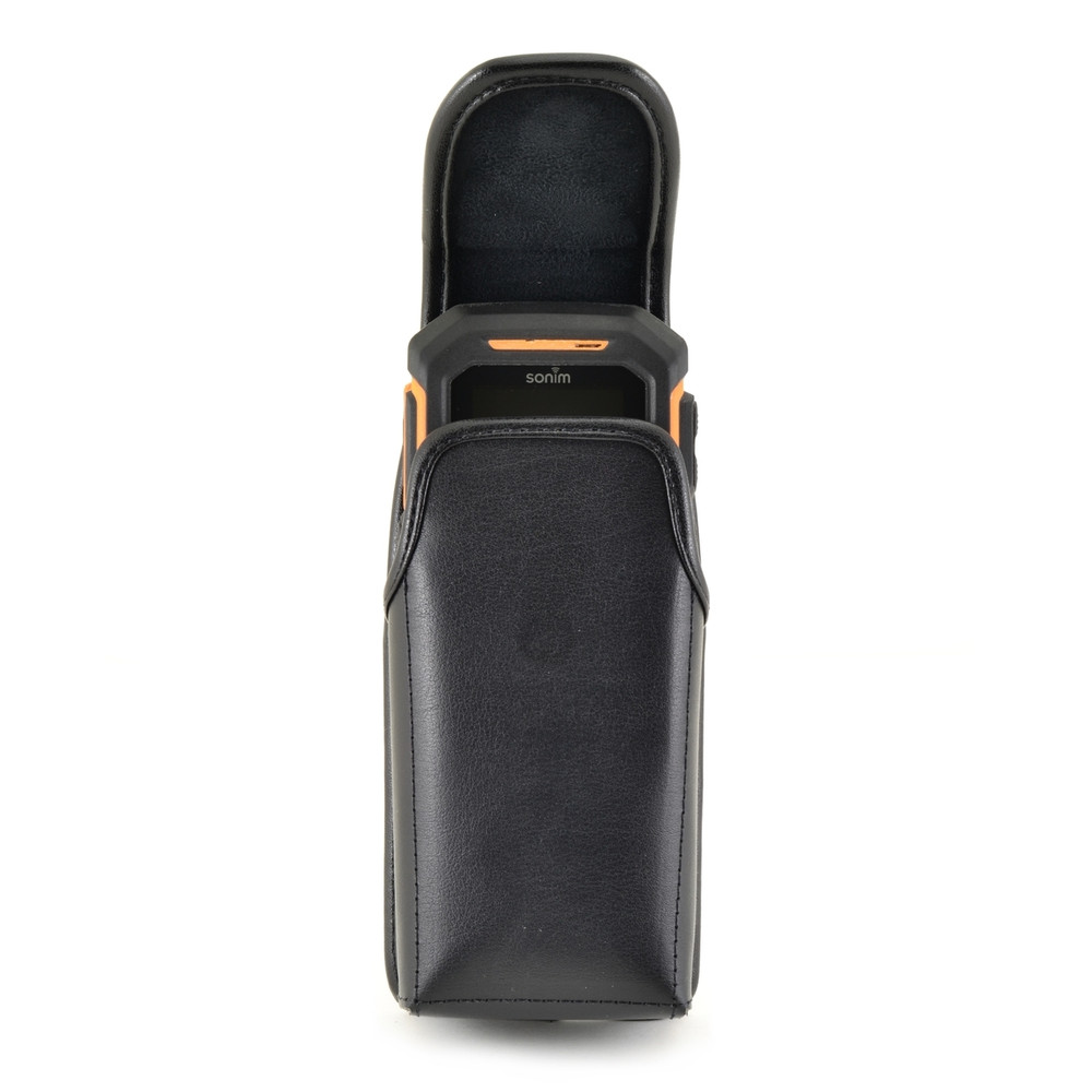Sonim XP1520SL / XP1300 / XP3300 Vertical Black Leather Holster Pouch with Rotating removable Metal Belt Clip & Magnetic Closure
