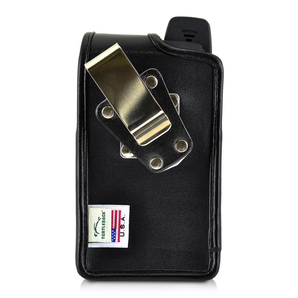 Sonim XP7 Koamtac Scanner Black Leather Holster Pouch Rotating Removable Metal Belt Clip By Turtleback