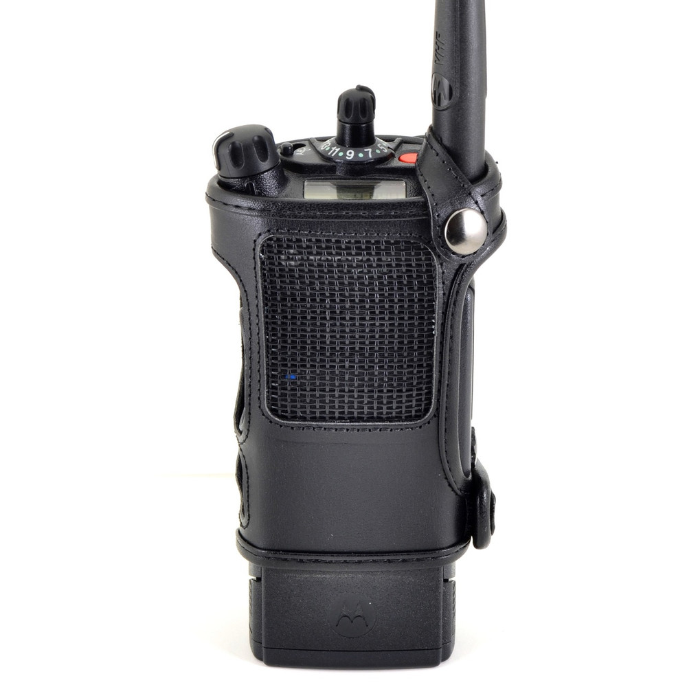 Motorola APX 8000 Belt Carry Holder Case by Turtleback, Black Leather Duty Belt Holster with Heavy Duty Rotating Belt Clip