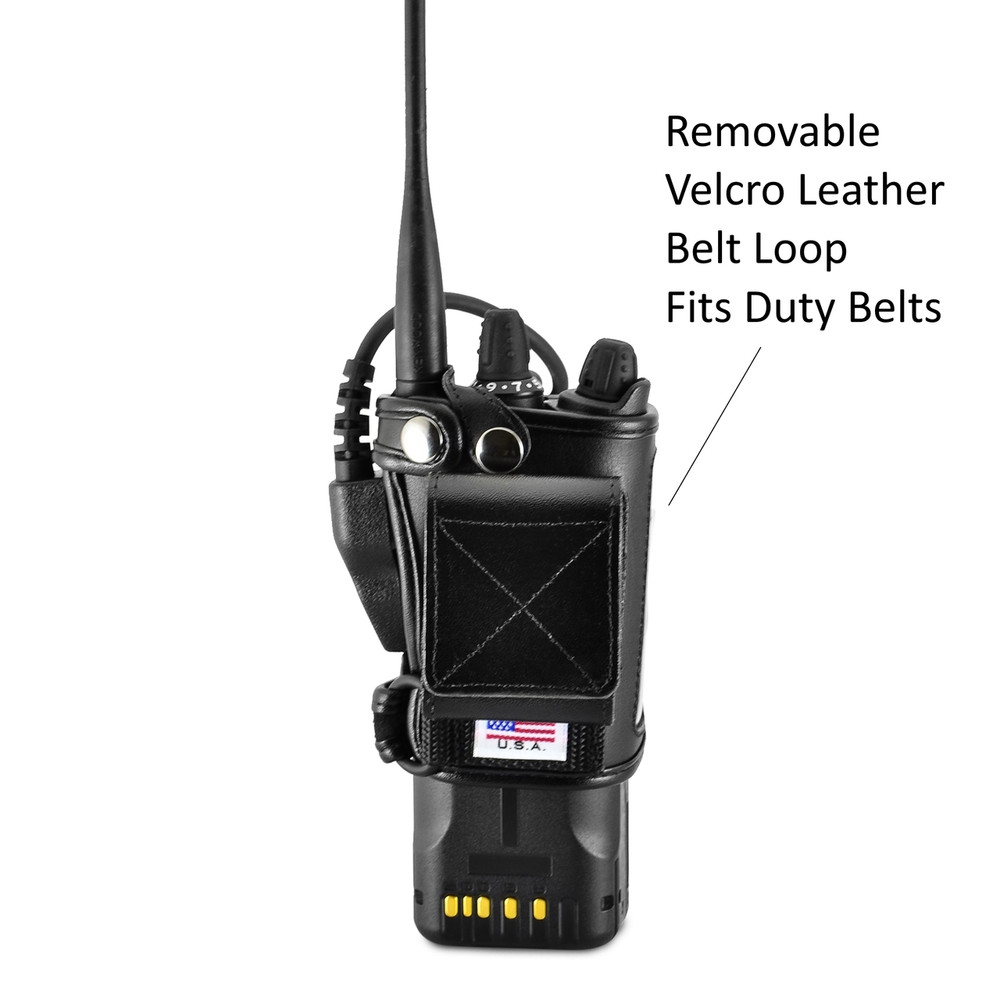 Kenwood VP6000 Viking 6000 Belt Carry Holder Case by Turtleback, Black Leather Duty Belt Holster with Heavy Duty Rotating Belt Clip