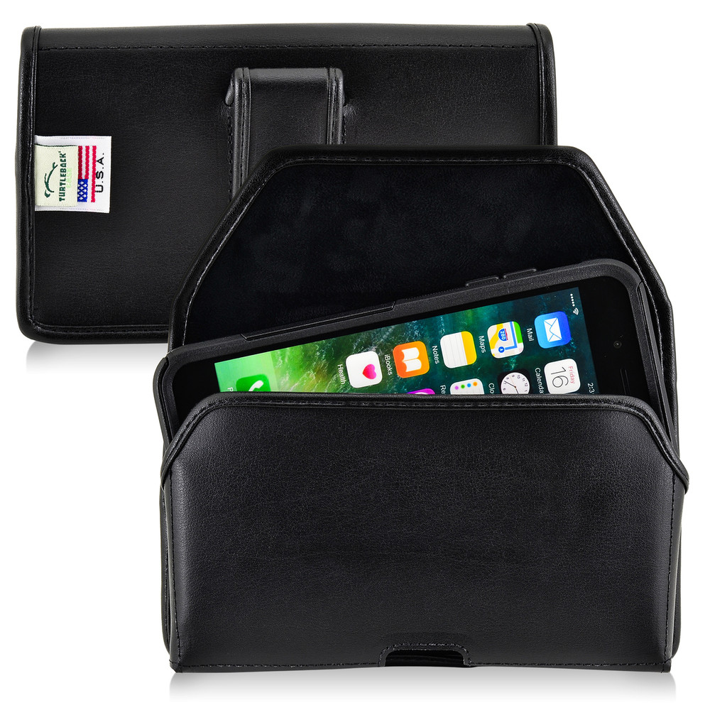 iPhone 6S Plus Leather Horizontal Holster Black Belt Clip Fits Otterbox Commuter