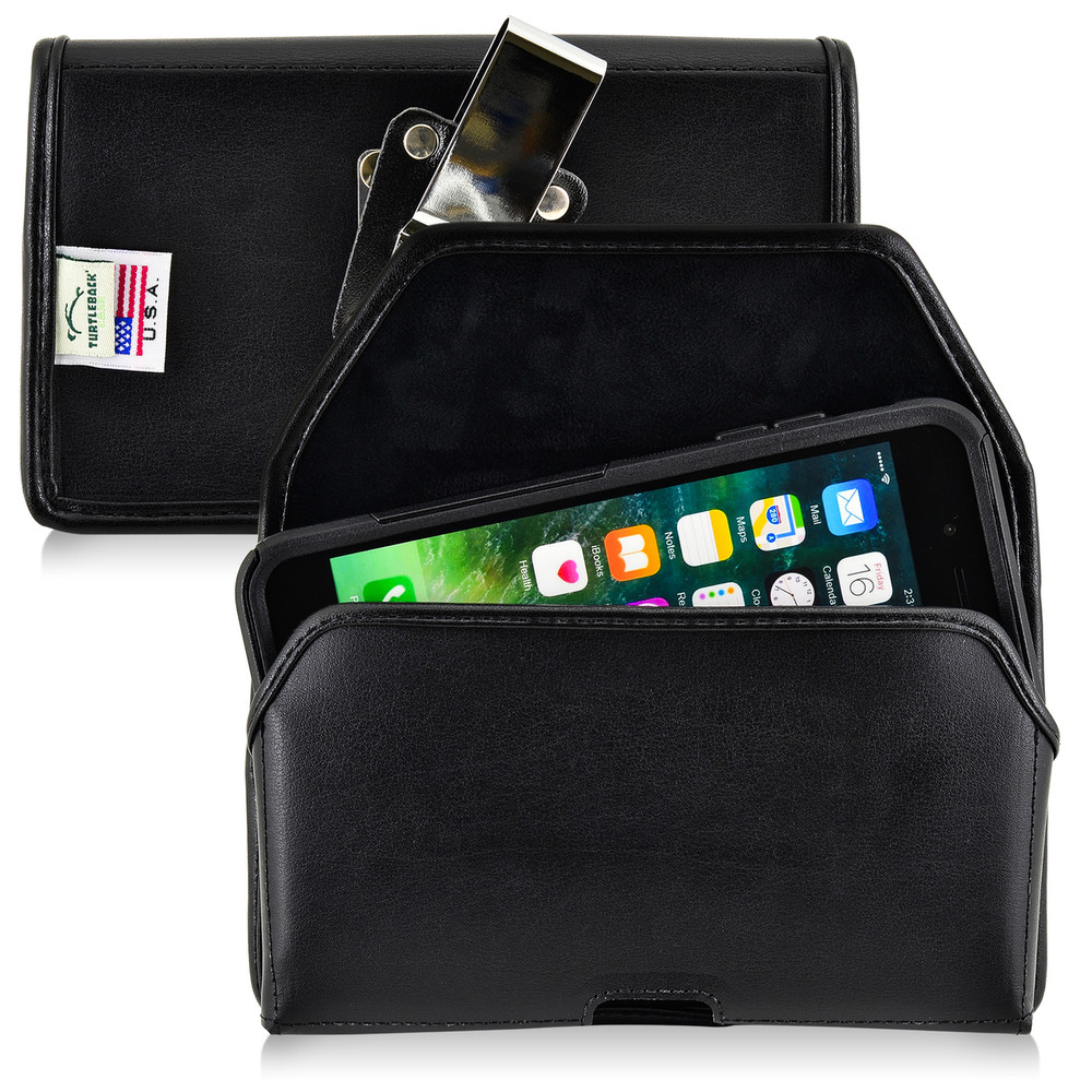 iPhone 6S Plus Leather Horizontal Holster Metal Belt Clip Fits Otterbox Commuter