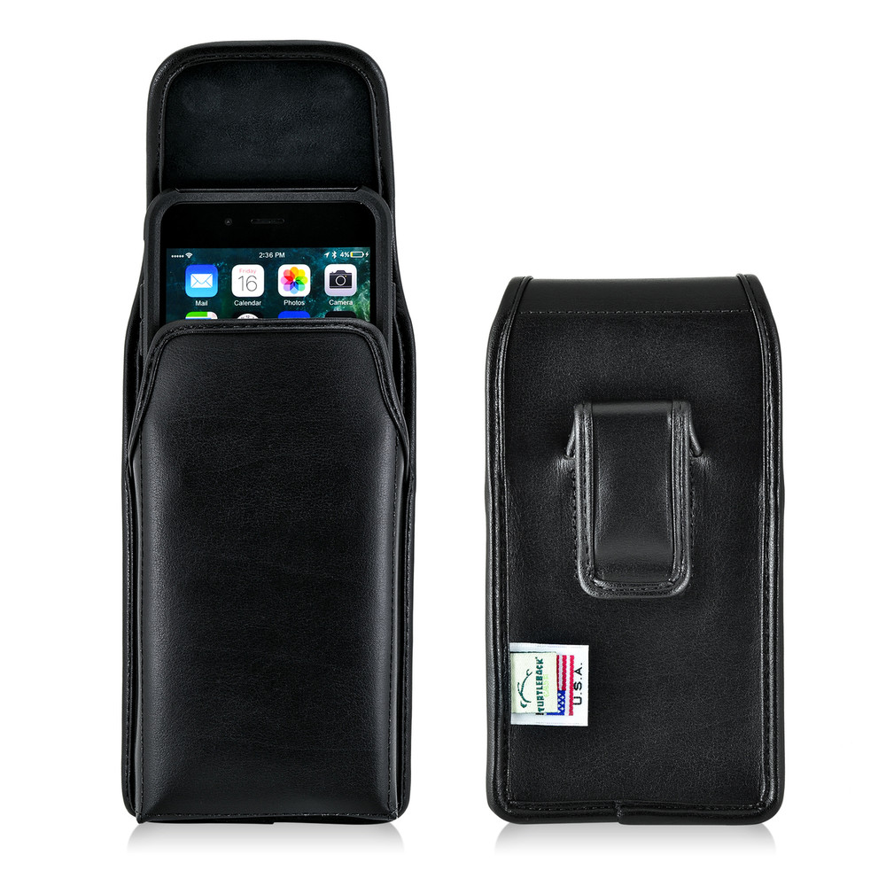 premium selection 40d39 64c6a iPhone 6S Plus Leather Vertical Holster Black Belt Clip Fits Otterbox  Commuter