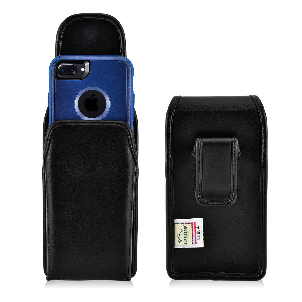 detailed look 7e899 8d632 iPhone 6S Leather Vertical Holster Black Belt Clip Case Fits Otterbox  Commuter