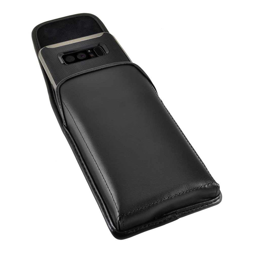 Samsung Note 9 and Note 8 Holster Black Clip Case Pouch Leather Vertical Turtleback