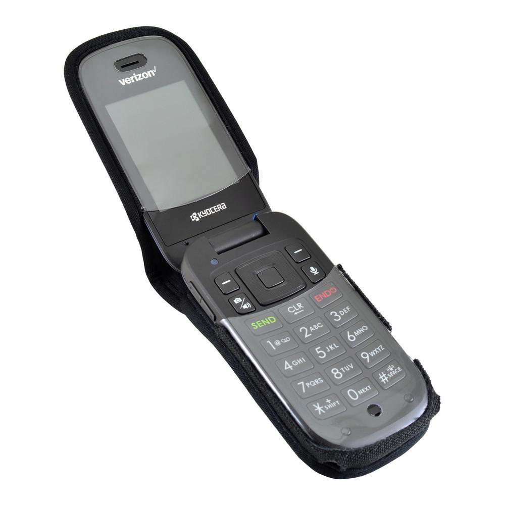 Kyocera Cadence Flip Phone Case Black Nylon Removable Metal Clip