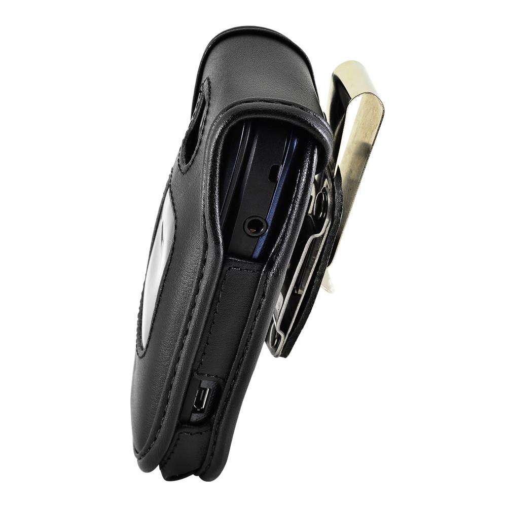 Kyocera Cadence Flip Phone Case Black Leather Metal Clip