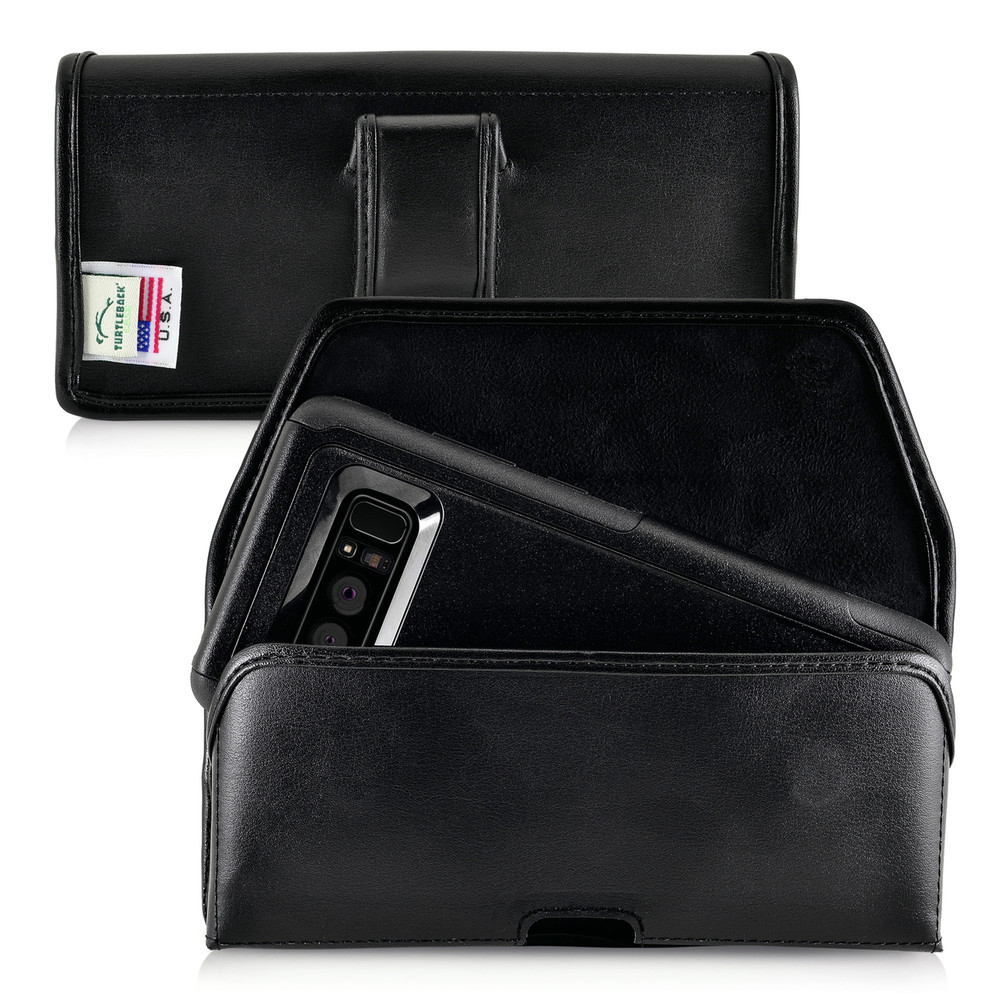 Galaxy Note 8 Leather Holster for Otterbox Commuter Case Black Clip and Fits Bulk Cases