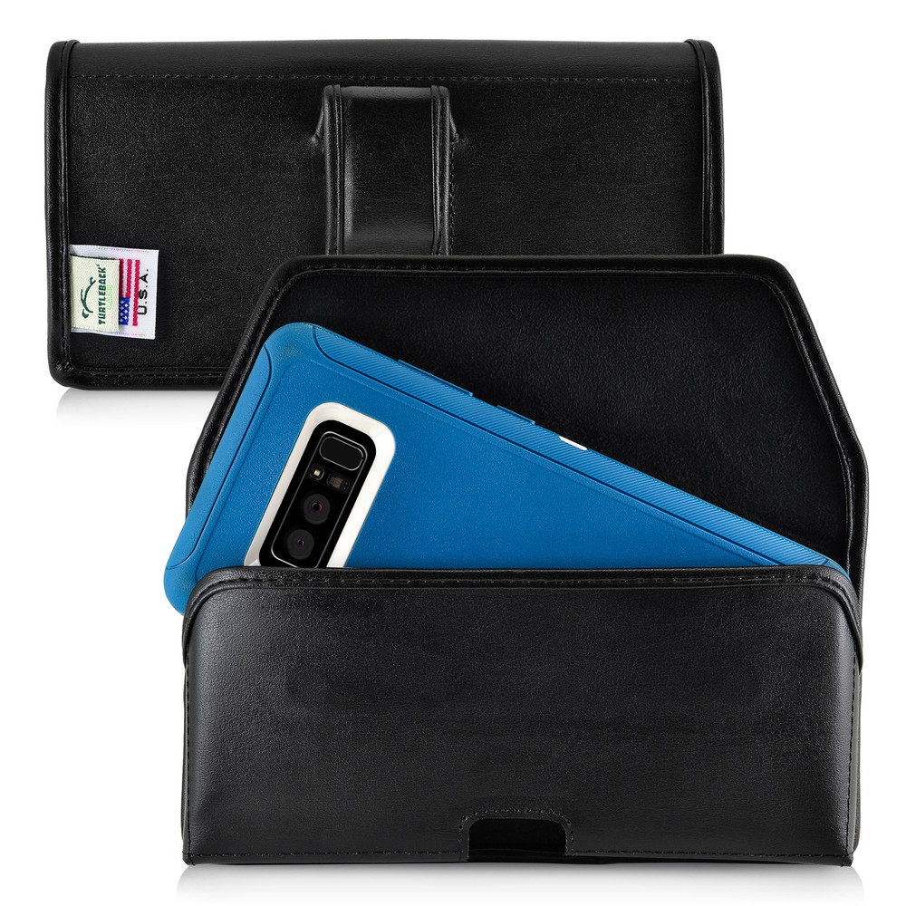 check out f2924 4fb73 Galaxy Note 8 Leather Holster for Otterbox DEFENDER Case Black Clip and  Fits Bulk Cases