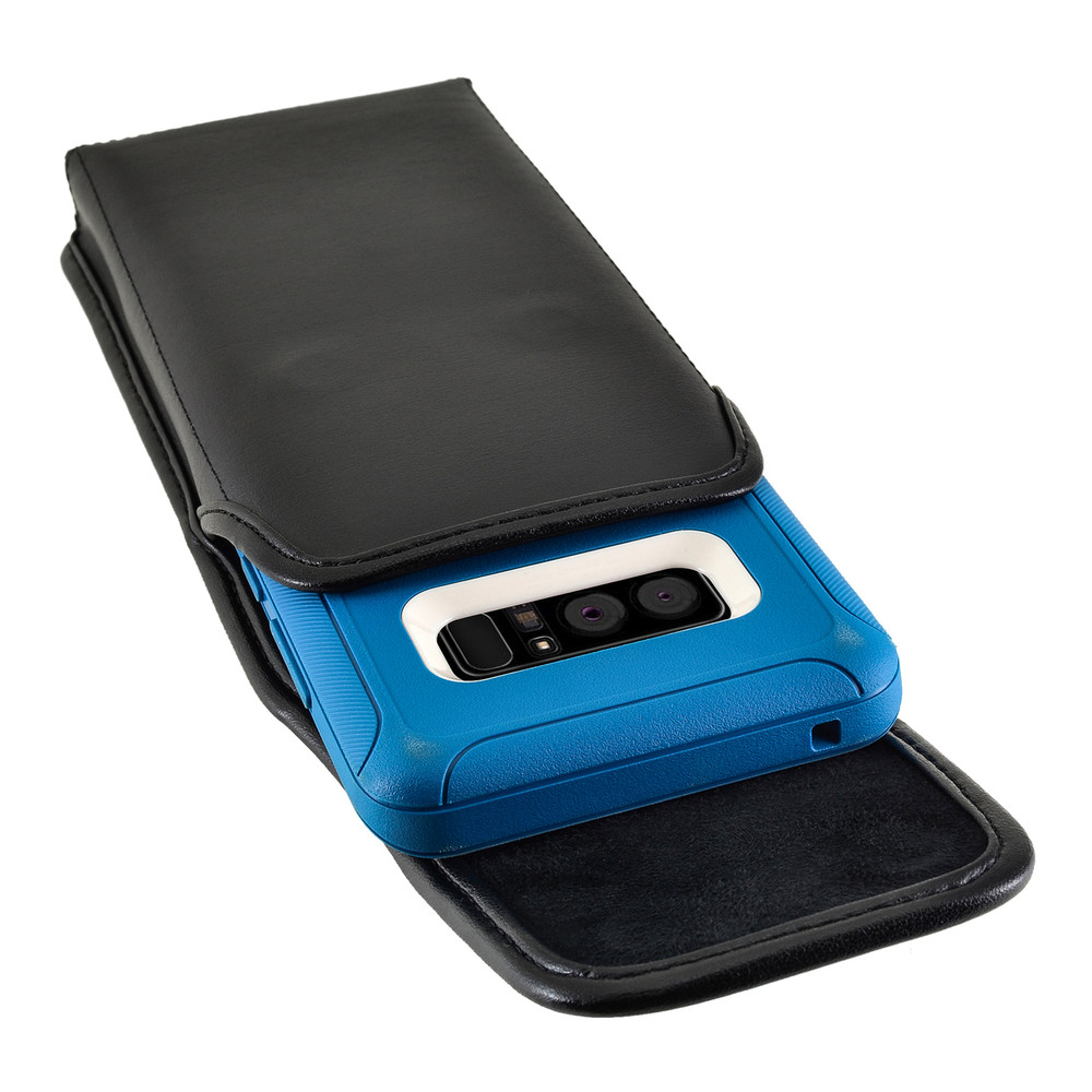 Galaxy Note 8 Vertical Leather Holster for Otterbox DEFENDER Case Metal Clip and Fits Bulk Cases