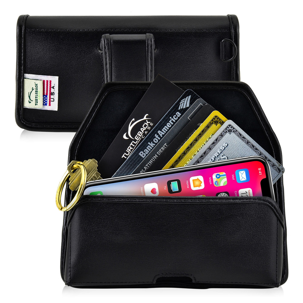 iPhone XS (2018) & iPhone X (2017) Credit Card Belt Clip Holster Case with D Ring, Executive Belt Clip, Black Leather Pouch, Horizontal