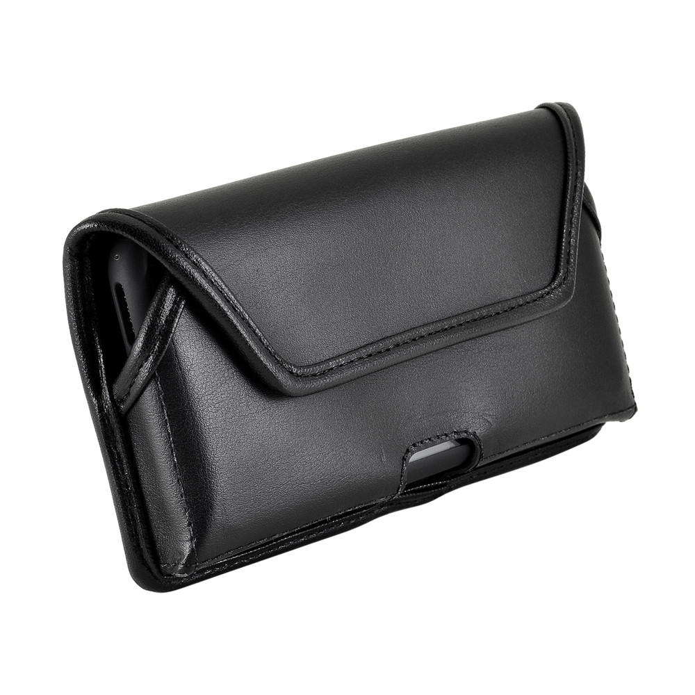 iPhone 11 Pro (2019), XS (2018) & X (2017) Belt Case Horizontal Holster Black Leather Pouch Heavy Duty Rotating Clip
