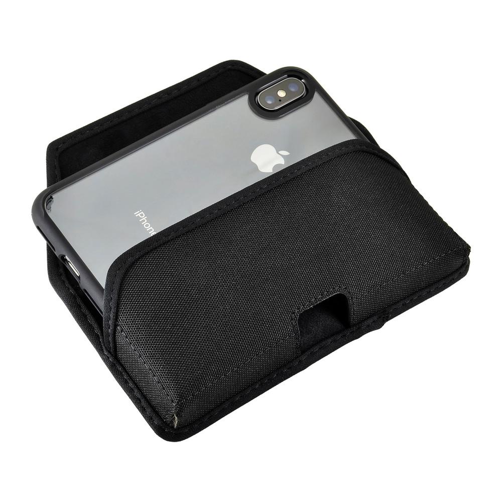 iPhone 11 Pro (2019), XS (2018) & X (2017) Belt Clip Horizontal Holster Case Black Nylon Pouch Heavy Duty Rotating Clip