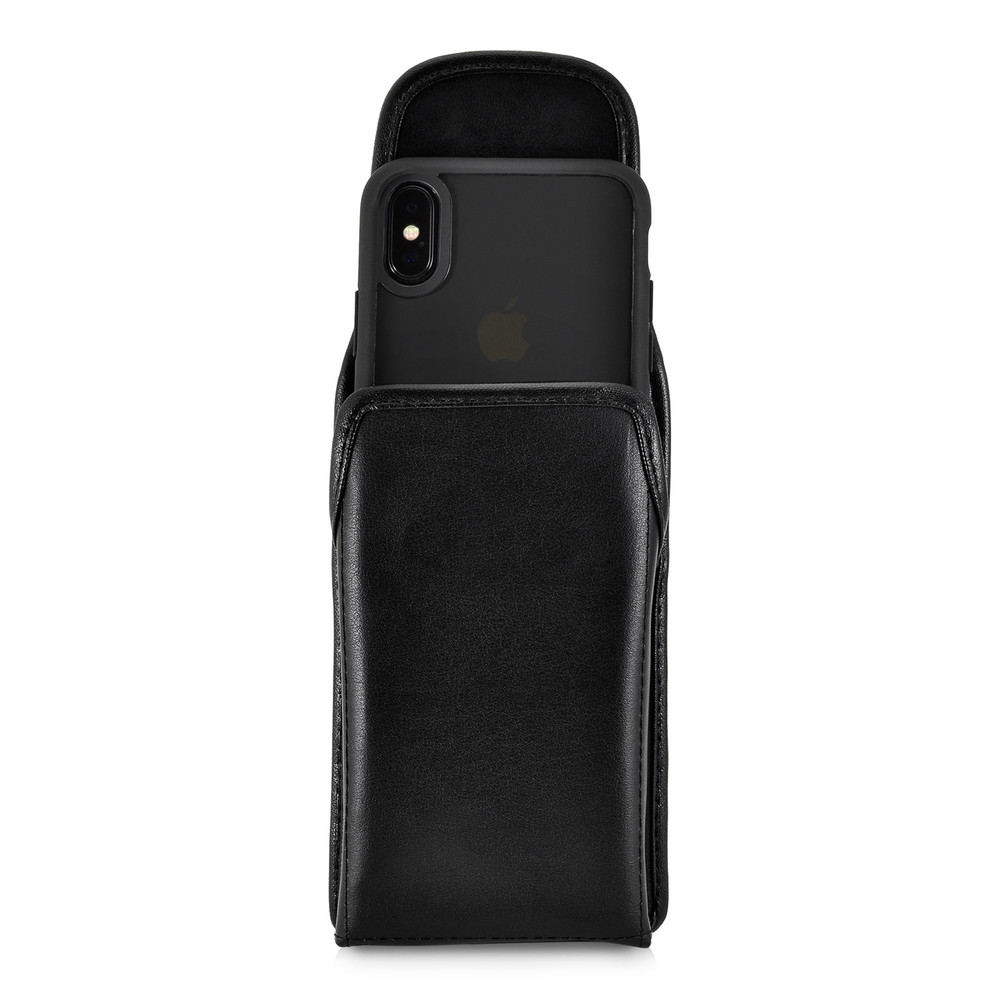 iPhone XS Case, Fits iPhone X & 11 Pro, Black Vertical Belt Holster With Leather Pouch & Executive Belt Clip