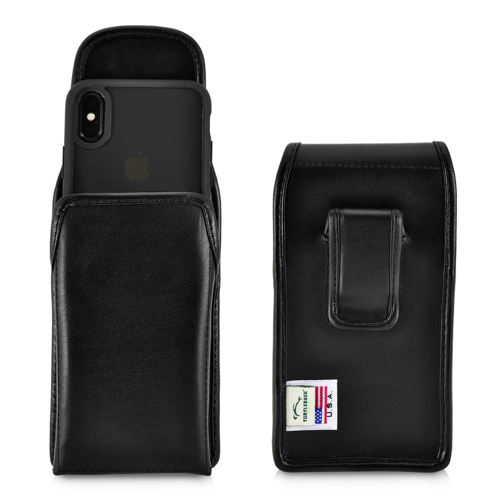 huge discount 77dd7 43423 iPhone XS (2018) & iPhone X (2017) Belt Case Vertical Holster Black Leather  Pouch Executive Belt Clip