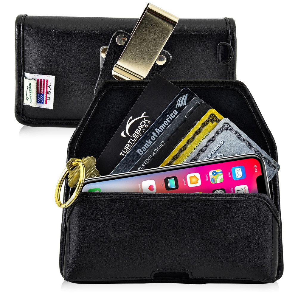 iPhone 11 Pro (2019), XS (2018) & X (2017) Credit Card Belt Clip Holster Case with D Ring, Black Leather Pouch with Heavy Duty Rotating Belt Clip, Horizontal