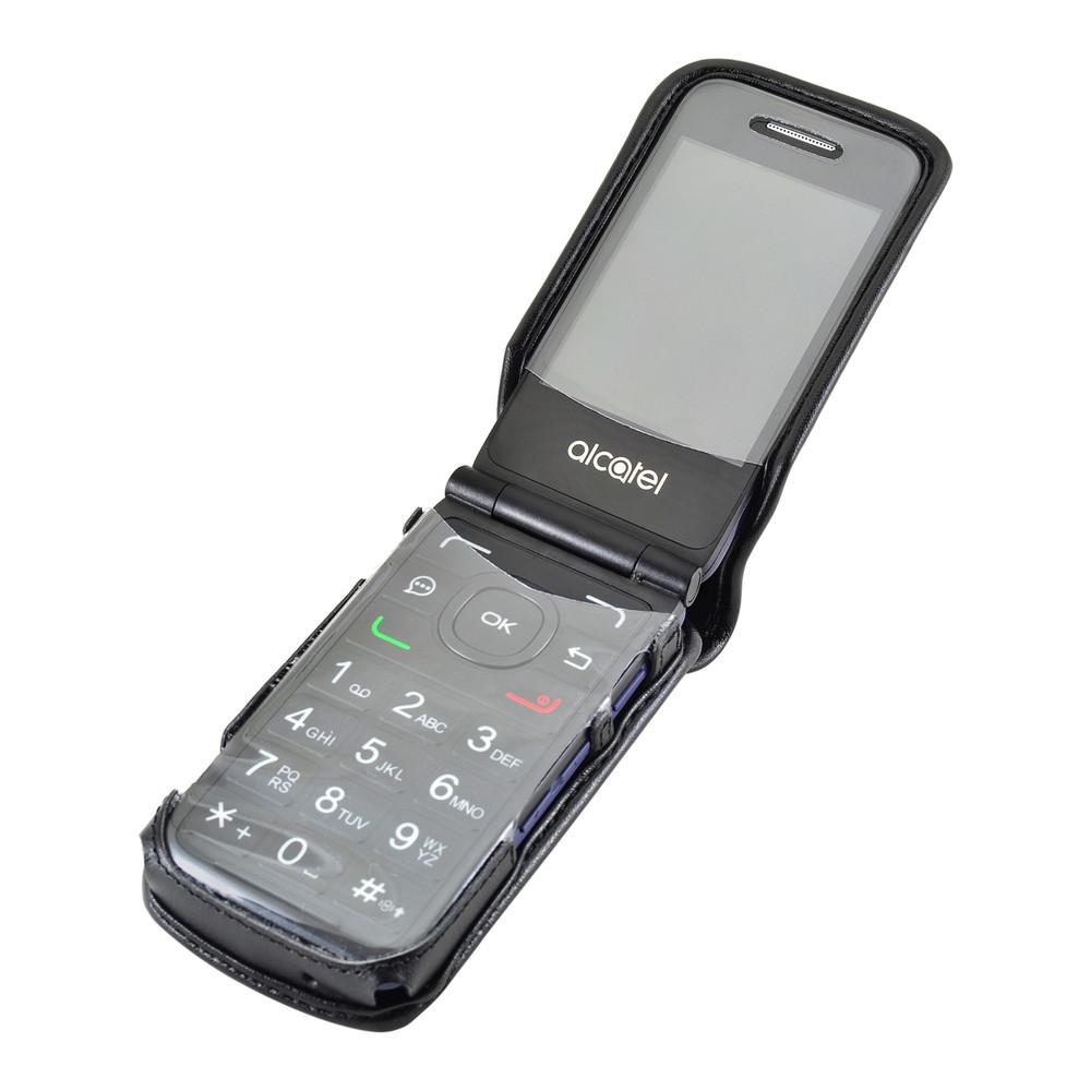 sale retailer 46fb8 d1d09 Consumer Cellular Alcatel GO FLIP, ATT Flip2, T-Mobile 4044W, MYFLIP  (A405DL) Black LEATHER Fitted Case Removable Belt Clip
