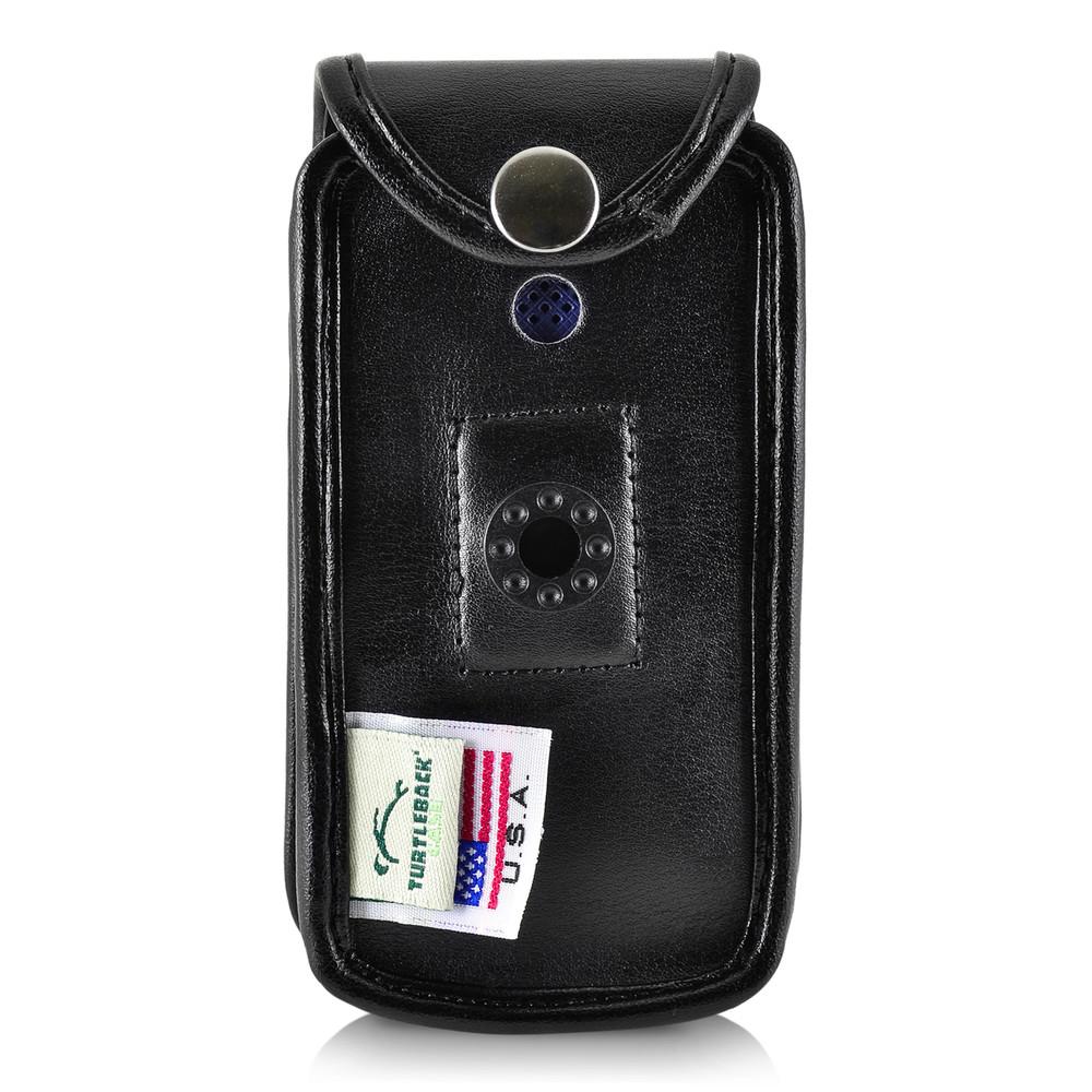 Consumer Cellular Alcatel GO FLIP, ATT Flip2, T-Mobile 4044W, MYFLIP  (A405DL) Black LEATHER Fitted Case Removable Belt Clip
