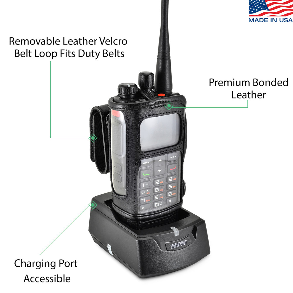 HQT DH-9800 Radio Belt Clip Holder Two 2 Way Radios Walkie Talkie Black Leather Rotating Clip Fits in Charger